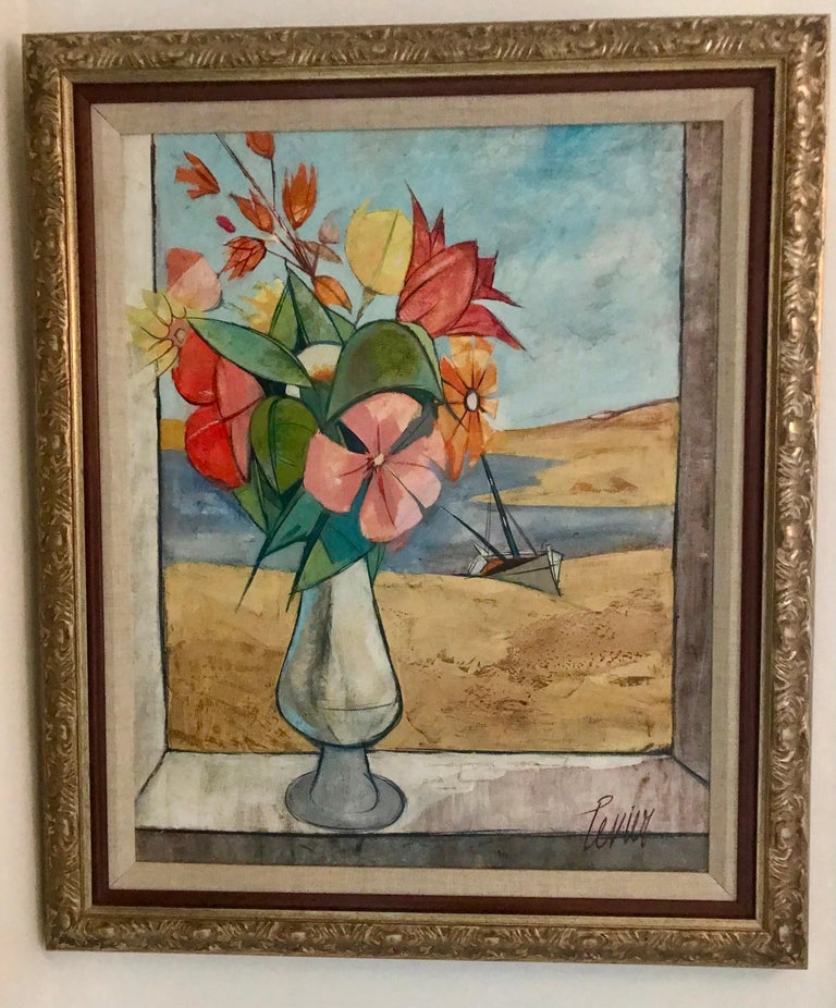 A large framed oil on canvas by Charles Levier, titled 'Bouquet Levier' circa 1958. The painting is signed to the front and titled on the back. Charles Levier was Corsican born in 1920 to a French Father and American Mother. He studied at the Ecole