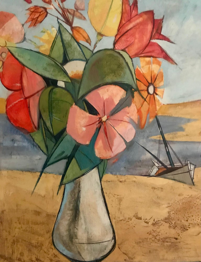 Mid-Century Modern Rare Seascape and Bouquet Oil on Cancas by Charles Levier, 1958 For Sale