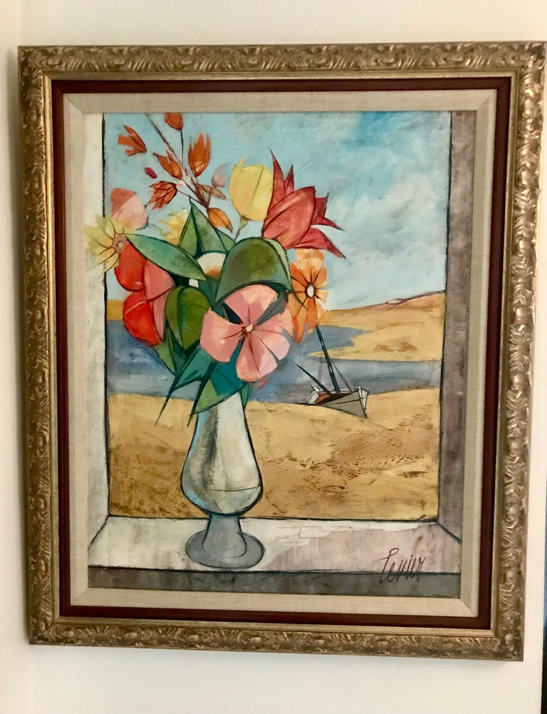 French Rare Seascape and Bouquet Oil on Cancas by Charles Levier, 1958 For Sale