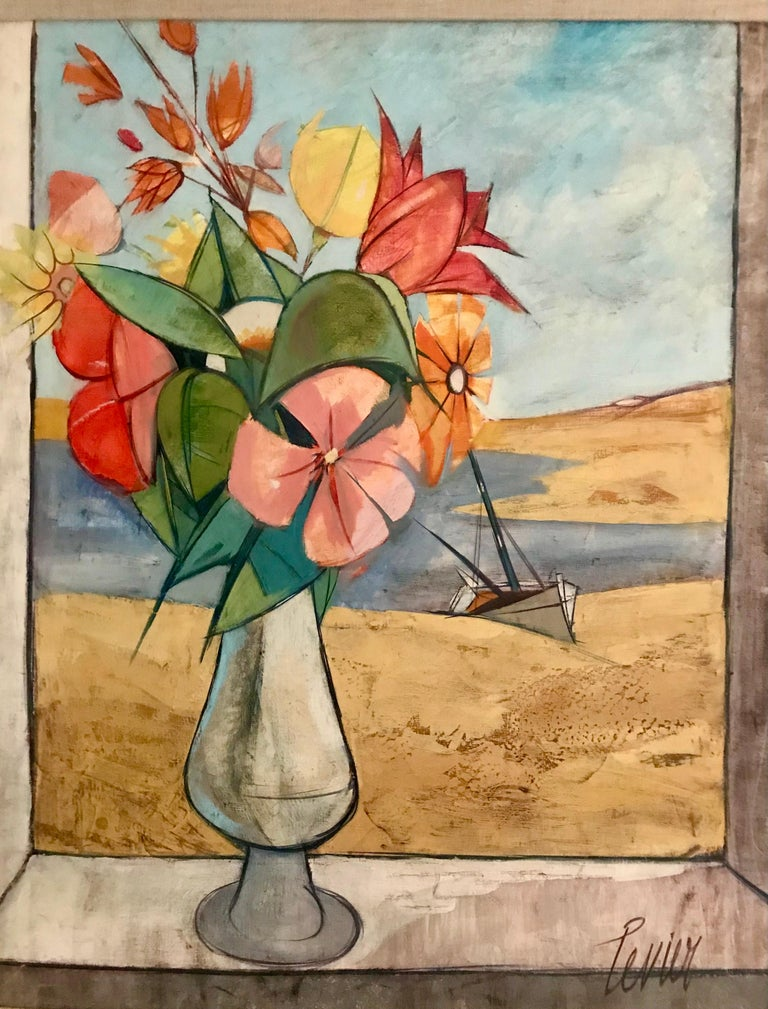 Painted Rare Seascape and Bouquet Oil on Cancas by Charles Levier, 1958 For Sale