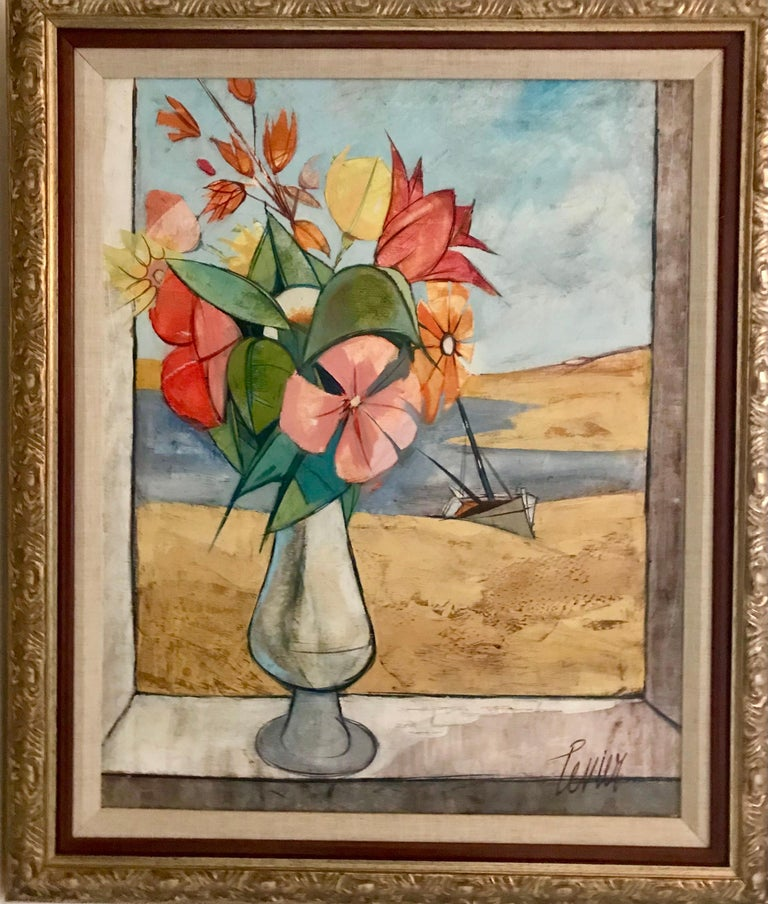 Rare Seascape and Bouquet Oil on Cancas by Charles Levier, 1958 In Good Condition For Sale In Miami, FL