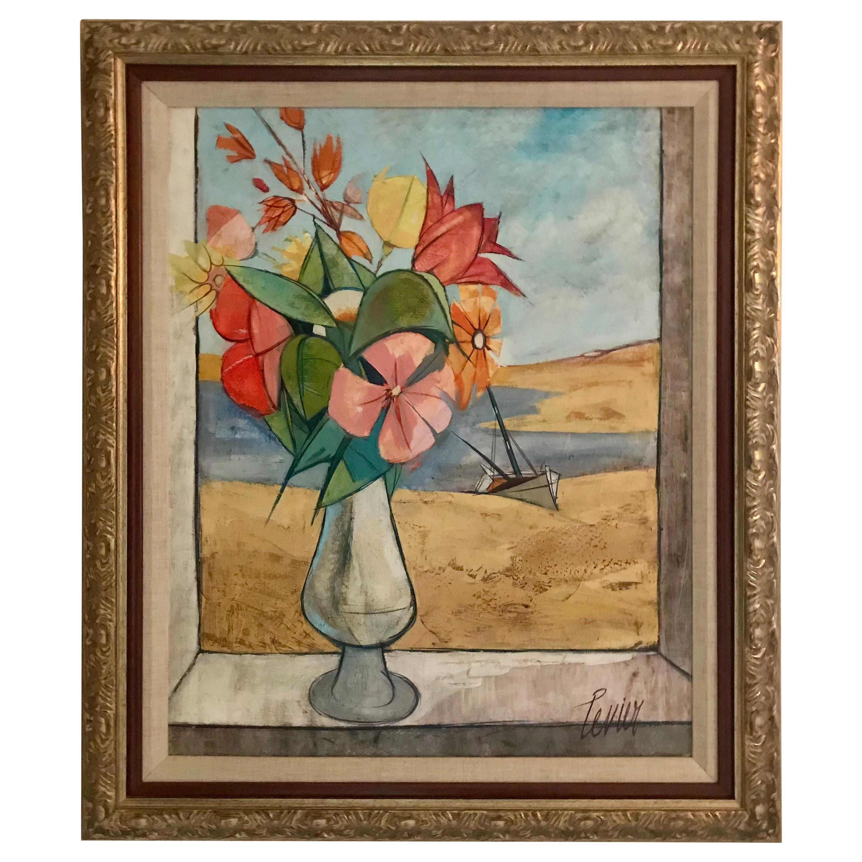 Rare Seascape and Bouquet Oil on Cancas by Charles Levier, 1958