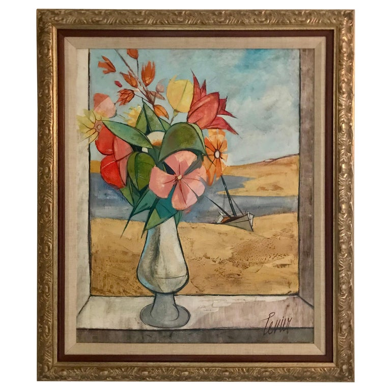 Rare Seascape and Bouquet Oil on Cancas by Charles Levier, 1958 For Sale