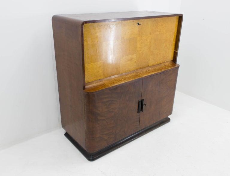 Veneer Rare Secretaire by Jindrich Halabala, 1940s For Sale