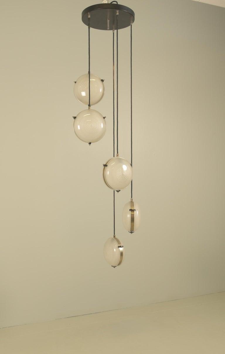Rare Sergio Mazza 'Delta' Five Pendant for Artemide In Excellent Condition For Sale In Rovereta, SM
