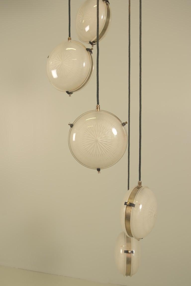 Brass Rare Sergio Mazza 'Delta' Five Pendant for Artemide For Sale