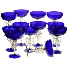 Rare Set, 12 Cenedese Champagne Goblets, Murano Cobalt Glass Gold Accent, Signed