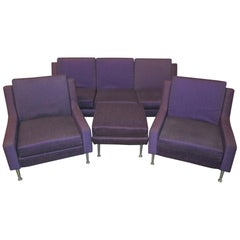 """Rare set Airborne model """"Relaxair"""" Sofa 3 seaters, 1 ottoman, 2 armchairs"""
