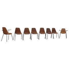 Rare Set Chairs Bamboo Italia Mid-Century Design Campo & Graffi 1950s Iron Black