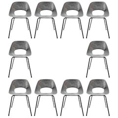 Rare Set of 10 Aluminum Chairs by Pierre Guariche