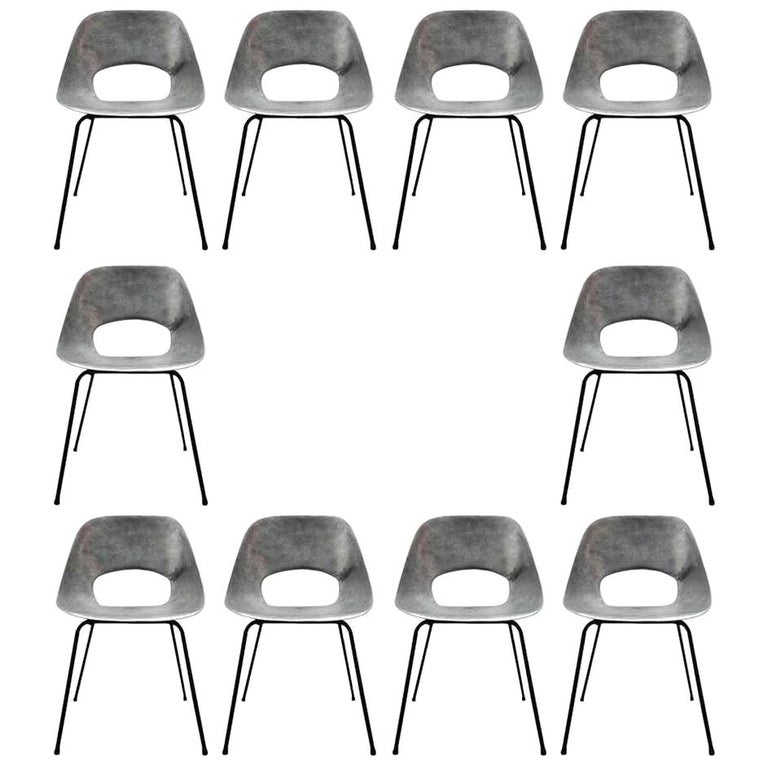 Rare Set of 10 Aluminum Chairs by Pierre Guariche For Sale