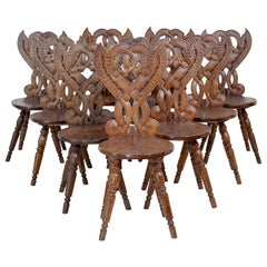 Rare Set of 10 Carved Oak 19th Century Hall Chairs