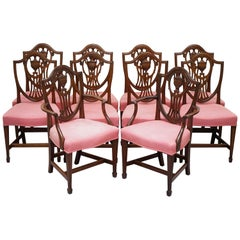 Rare Set of 10 Gillow & Co Lancaster London Sheraton Shield Back Dining Chairs