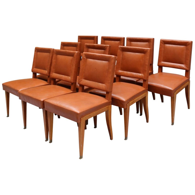 Rare Set of 10 Leather and Mahogany Chairs by Jacques Quinet For Sale