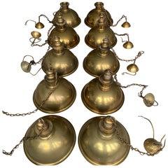 Rare Set of 10 Mid-Century Modern Brass Kitchen, Bar / Restaurant Pendant Lights