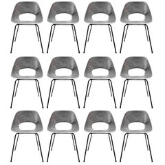 Rare Set of 12 Aluminium Chairs by Pierre Guariche
