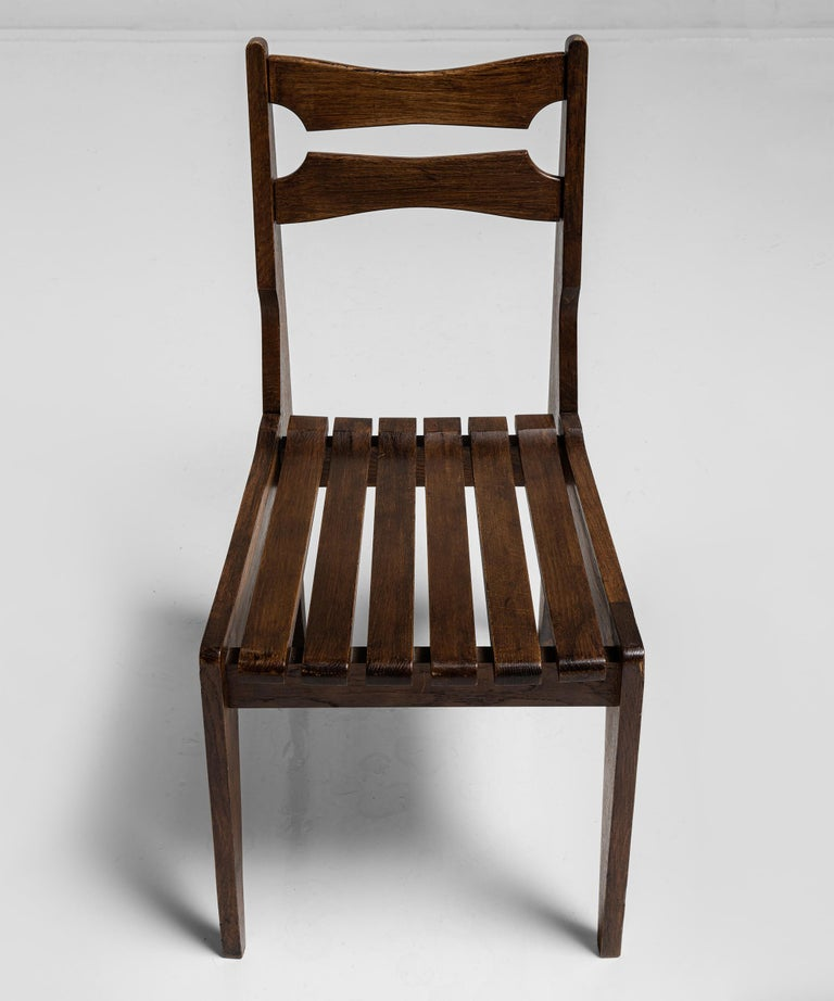 Modern Rare Set of 12 Guillerme et Chambron Dining Chairs, France, Circa 1950 For Sale