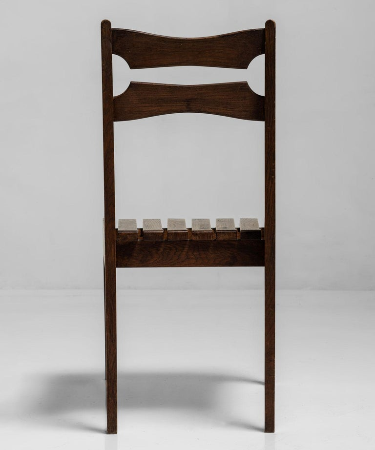 French Rare Set of 12 Guillerme et Chambron Dining Chairs, France, Circa 1950 For Sale