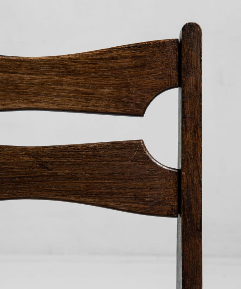 Mid-20th Century Rare Set of 12 Guillerme et Chambron Dining Chairs, France, Circa 1950 For Sale