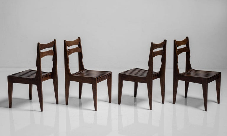 Oak Rare Set of 12 Guillerme et Chambron Dining Chairs, France, Circa 1950 For Sale