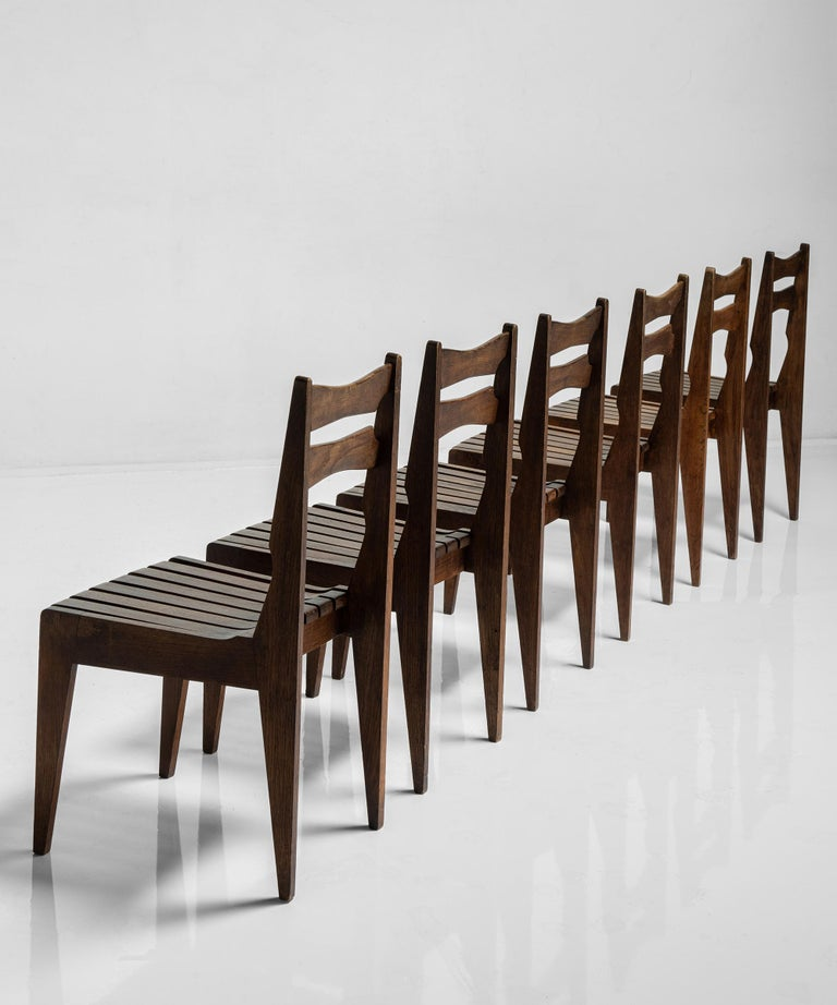 Rare Set of 12 Guillerme et Chambron Dining Chairs, France, Circa 1950 For Sale 1