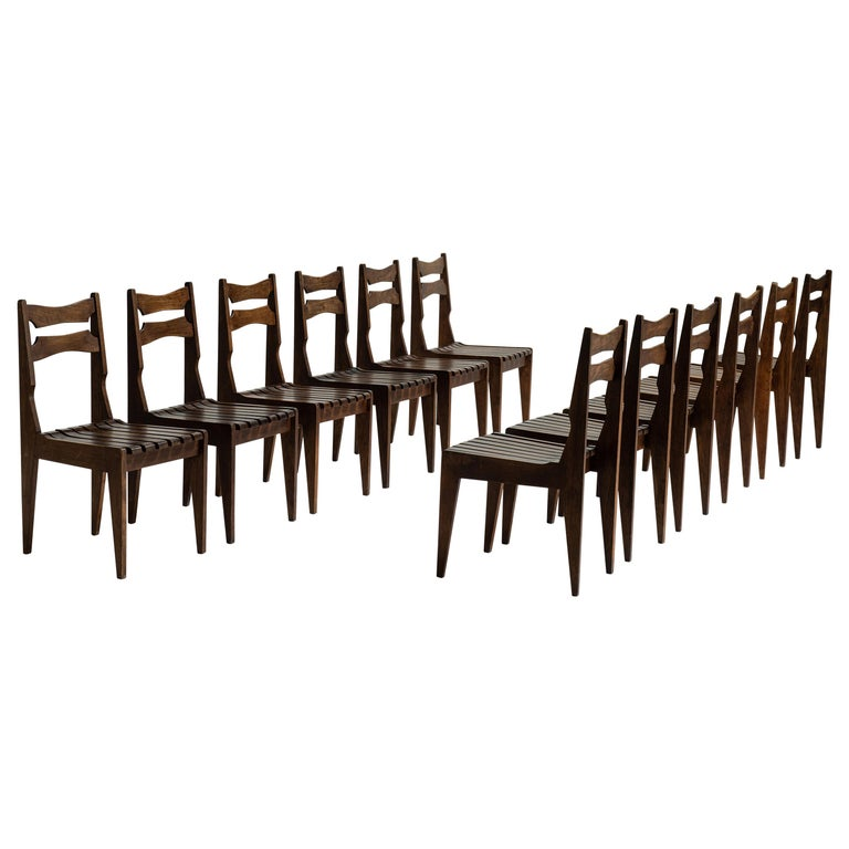 Rare Set of 12 Guillerme et Chambron Dining Chairs, France, Circa 1950 For Sale