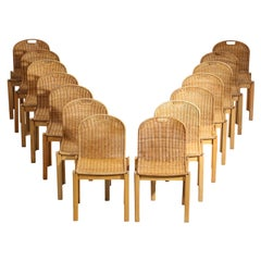 Rare Set of 14 Italian Chairs in Ash and Wicker from the 70s Style Tobia Scarpa