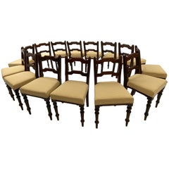 Rare Set of 14 Rustic Chairs in Pine with New Upholstery, Ireland