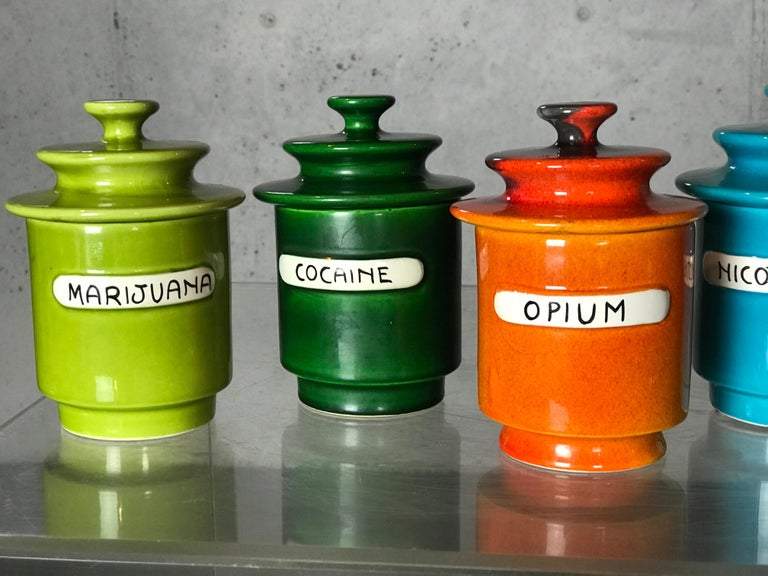 Mid-Century Modern Rare Set of 1960s Lidded Apothecary
