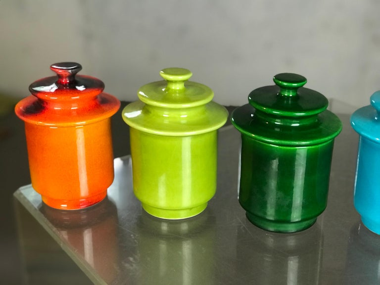 Ceramic Rare Set of 1960s Lidded Apothecary
