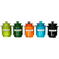 """Rare Set of 1960s Lidded Apothecary """"Dope Jars"""" by Alvino Bagni for Raymor"""