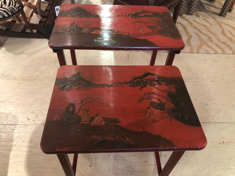 Rare Set of 19th Century Elegant Chinoiserie Tomato Red Nesting Tables For Sale 5