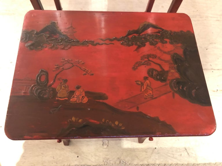 Rare Set of 19th Century Elegant Chinoiserie Tomato Red Nesting Tables For Sale 6