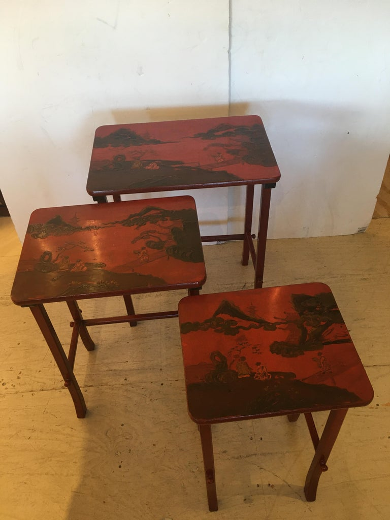 Rare Set of 19th Century Elegant Chinoiserie Tomato Red Nesting Tables For Sale 12