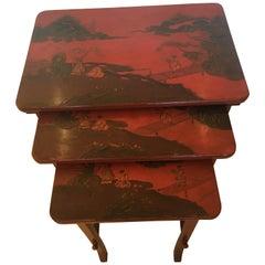 Rare Set of 19th Century Elegant Chinoiserie Tomato Red Nesting Tables