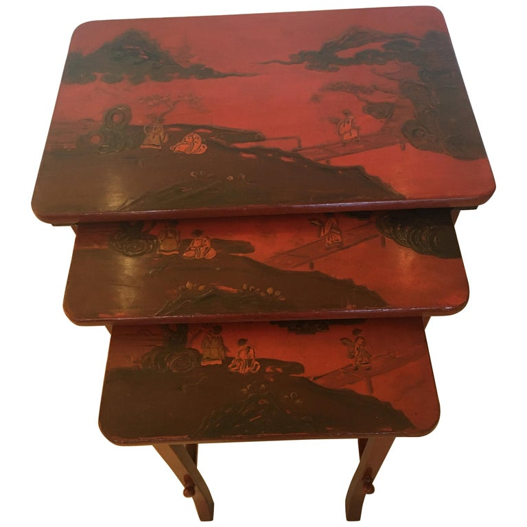 Rare Set of 19th Century Elegant Chinoiserie Tomato Red Nesting Tables For Sale