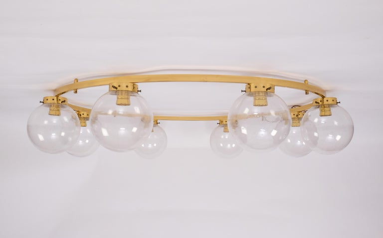 Metal Rare Set of 3 Large Chandeliers, Sweden, 1960s For Sale