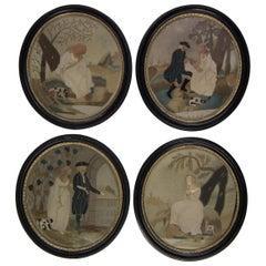 Rare Set of 4 Antique Georgian Appliqué Embroideries