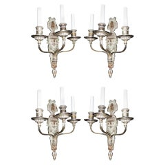 Rare Set of 4 Caldwell Neoclassical Silvered Bronze Three-Arm Bow Nickel Sconces