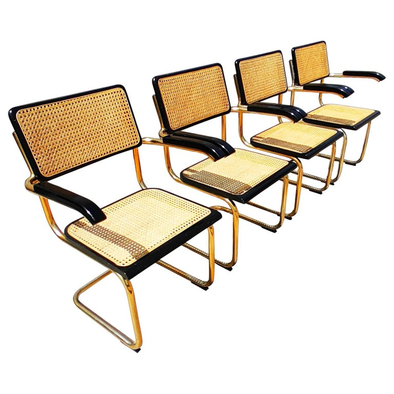 """Rare Set of 4 """"Cesca"""" Gold Armchairs by Marcel Breuer, 1970s"""