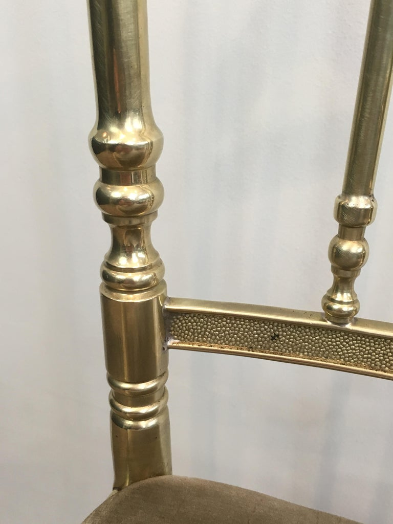 Rare Set of 4 Elegant Neoclassical Brass Chairs For Sale 7