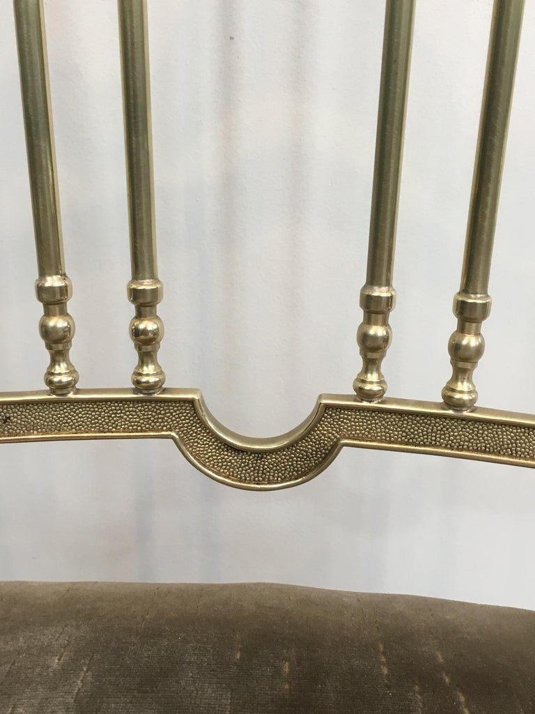 Rare Set of 4 Elegant Neoclassical Brass Chairs For Sale 8