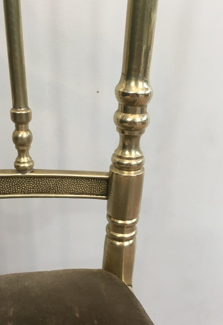 Rare Set of 4 Elegant Neoclassical Brass Chairs For Sale 9