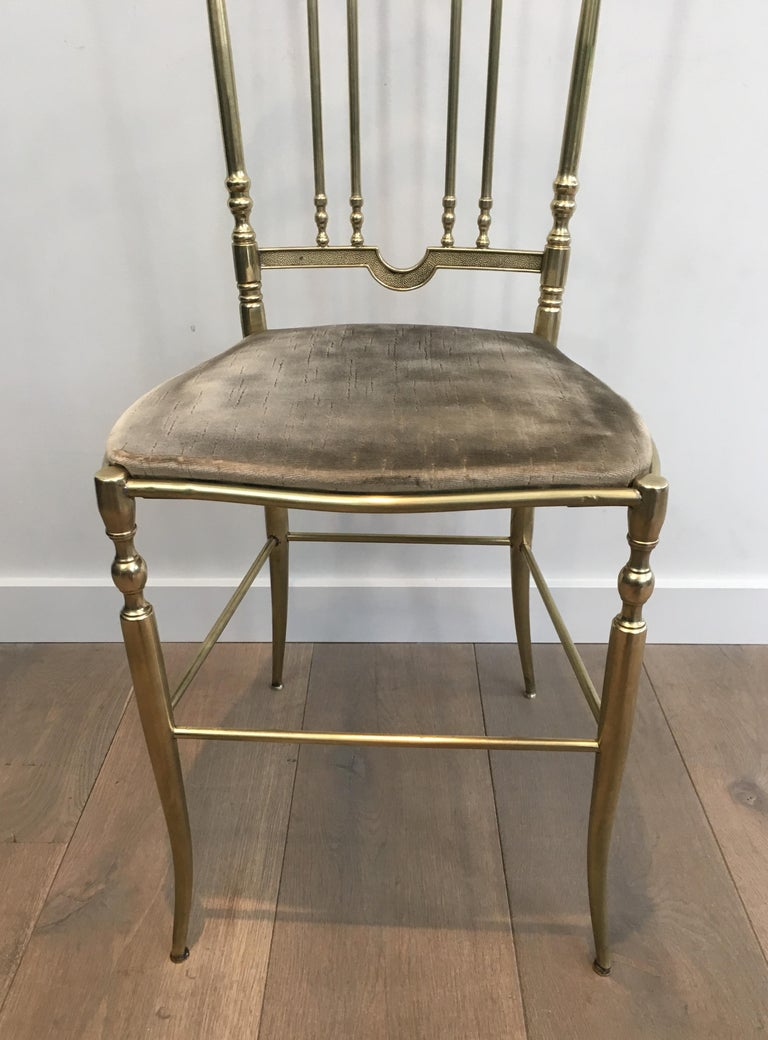 Rare Set of 4 Elegant Neoclassical Brass Chairs For Sale 10