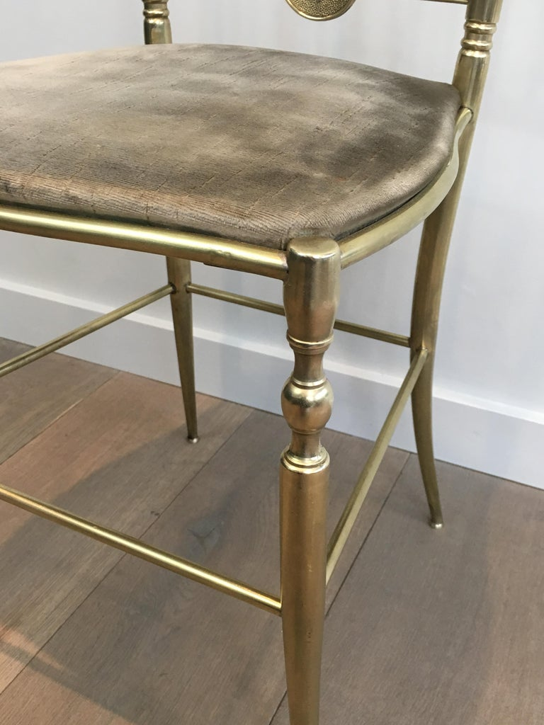 Rare Set of 4 Elegant Neoclassical Brass Chairs For Sale 12