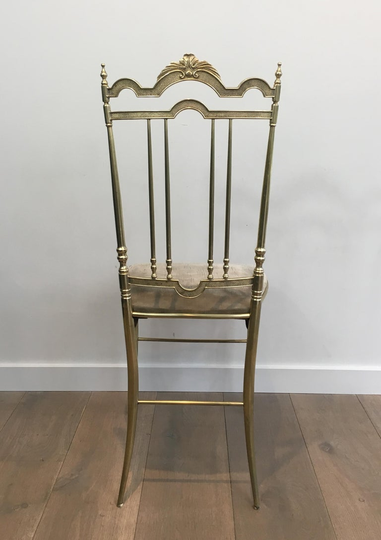 Rare Set of 4 Elegant Neoclassical Brass Chairs For Sale 14