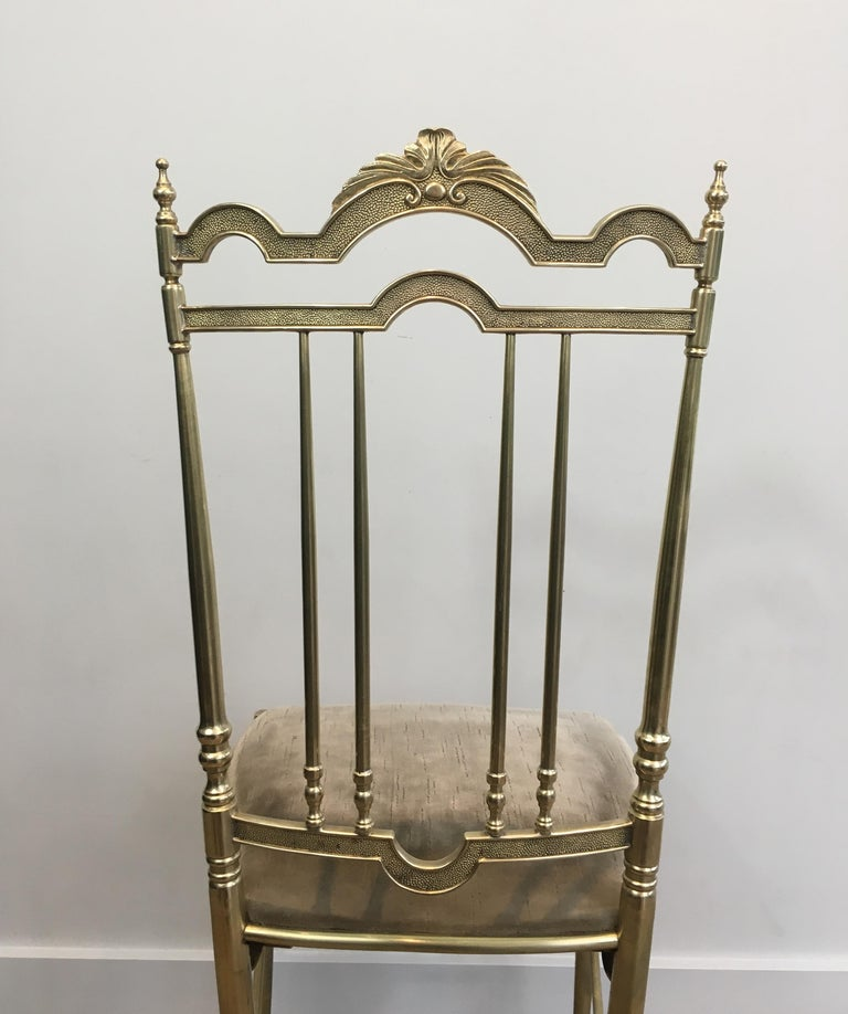 Rare Set of 4 Elegant Neoclassical Brass Chairs For Sale 15