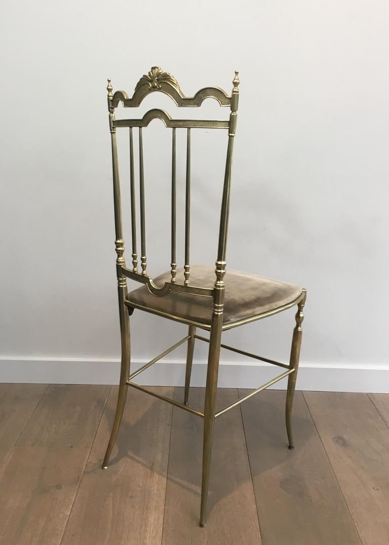 Rare Set of 4 Elegant Neoclassical Brass Chairs In Good Condition For Sale In Marcq-en-Baroeul, FR