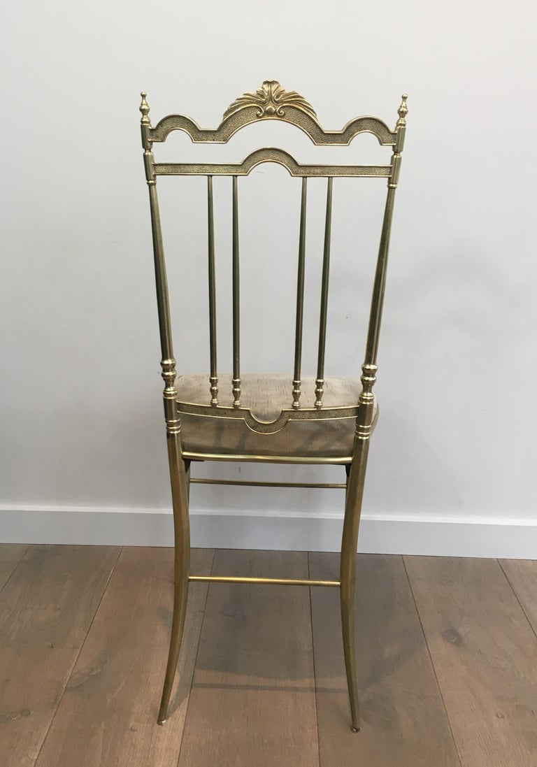 Late 20th Century Rare Set of 4 Elegant Neoclassical Brass Chairs For Sale