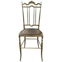 Rare Set of 4 Elegant Neoclassical Brass Chairs